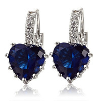 Women's 18K White Gold Plated Sapphire Blue Crystal Heart Leverback Earrings [7981375559]