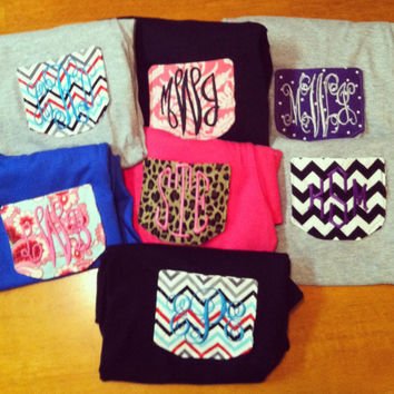 DIY monogrammed chevron pocket for tshirts by gingerbreadbabies