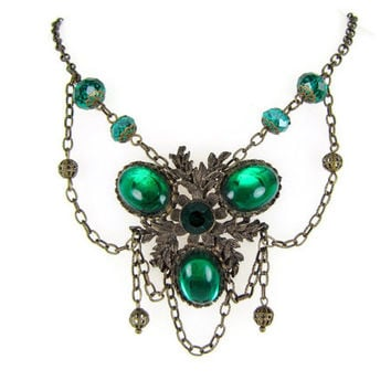Evergreen Evening - Emerald Green Festoon Necklace, Victorian Style Bib Collar with Draped Chain Swags, Glass Beads, Trefoil Medallion