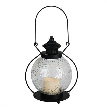 """11"""" Clear Molded Glass Lantern with Flameless LED Pillar Timer Candle"""