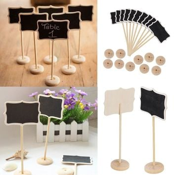 6Pcs/lot Vintage Mini Wood Chalkboard Blackboard Wooden Place Card Holder Table Number for Wedding Event Party Decoration