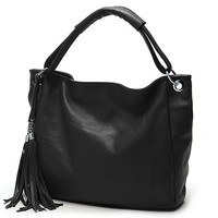 Tassel Tote Leather Handbag