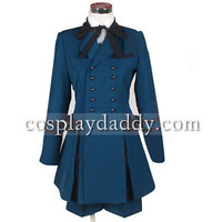 Japanese Anime Outfit Black Butler Ciel Phantomhive Cosplay Costume Blue dress