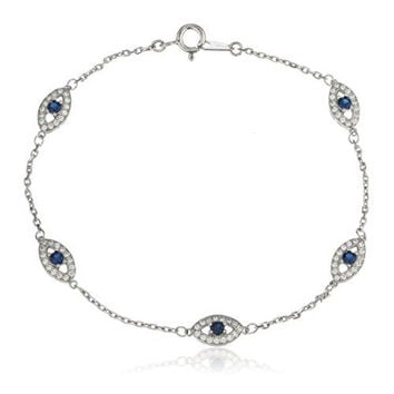 925 Sterling Silver with Deep Blue Evil Eye Cz Charmed 7 Inch Bracelet