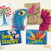 5 Quilted Cards, Printed Cards, Blank Greeting Cards, Personalized Gift, YOU CHOOSE, Flower, Peacock Feather, Tree of life, Bird of Paradise