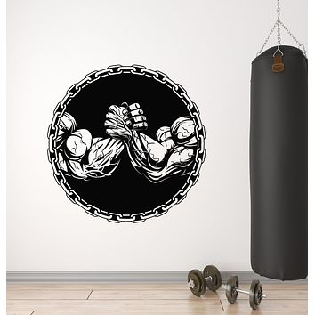 Vinyl Wall Decal Arm Wrestling Muscle Gym Bodybuilding Sports Decor Stickers Mural (g1013)