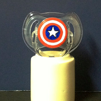 Baby America on a CLEAR AVENT Pacifier - Custom Hand Painted Pacifier