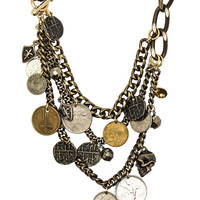 Ettika | Pretty Penny Mixed Metal Skull and Coin Necklace