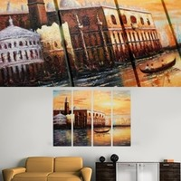 Venice Italy River Gondola Painting On Canvas Fine Art Size 47 x 35 Inch 007