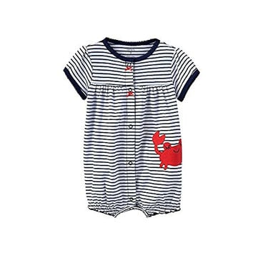 Carter's Striped Crab Creeper in Navy White with Happy Red Crab Applique - Baby Girl (6 months)