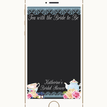 Bridal Shower Geofilter, Wedding Geofilter, Snapchat filter, Bride Tribe, Tea With The Bride To Be, Tea Bridal Shower, Brunch Bridal Shower