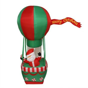 7' Inflatable Santa Claus on Hot Air Balloon Christmas Yard Art Decoration