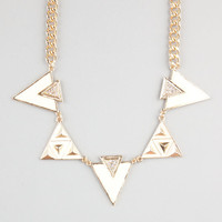 Full Tilt Geo Triangle Epoxy Statement Necklace Ivory One Size For Women 24231916001