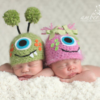 Newborn Baby Twin Fuzzy Monster Hats Crochet Photo Prop