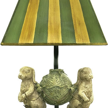 "0-013812>14""h Bunnies Bearing Dinner 1-Light Table Lamp Alman Antique White/Green"