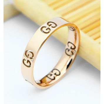 GUCCI Stylish Women Simple Rose Golden Titanium Steel Hollow GG Letter Ring I12933-1