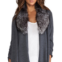 Alice + Olivia Izzy Cascade With Fur Cardigan in Charcoal
