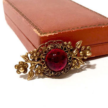 Original By Robert Brooch, Gold Tone Floral Setting, Raised Domed Red Glass Cabochon, Pierced Metal Work, 1960s Vintage Gift For Her
