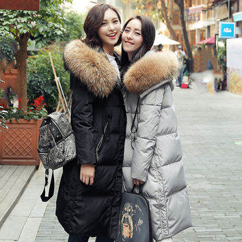 2016Women parka zipper button stylist long warm winter high quality leisure fur hooded down jacket coat big size S-XL