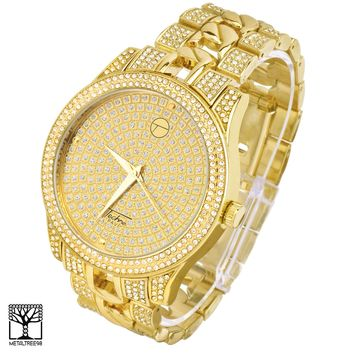 Jewelry Kay style Men's Fashion CZ Stoned Iced Out 14k Gold Plated Metal Band Watch WM 8056 G