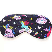 Unicorns Sleep Mask, Girls Eye Mask, Woman Pre-teen Present, Eyeshade, Pre-teen Gift, Soft Fleece Back, Blindfold, Night Nap Satin Cotton