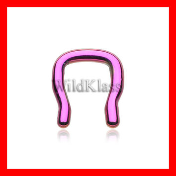 Color Septum Ring 16g 14g 12g 10g Black Gold Rose Gold Rainbow Purple Blue Green Septum Ring Cartilage Earrings Nipple Ring Tragus Jewelry