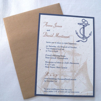 Beach Wedding Invitation, anchor invitation, nautical destination wedding, plantable invitation, navy and sand, sail ship invitation {25}