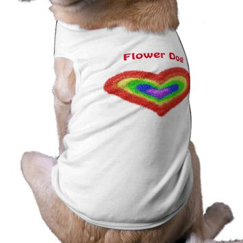 Rainbow heart flower dog shirt