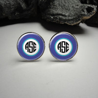 Personalized Blue and White Monogram Cuff Links 20mm/Personalized Silver Cufflinks for Him/Men Gift/ Wedding Party Cuff Links