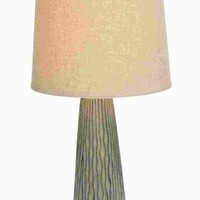 Benzara Ceramic decorative Modern Table Lamp with Vertical Engravings