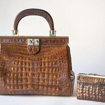 Frame handbag crocodile leather and purse vintage. Brown leather party handbag retro. Top handle crocodile bag. Royal style handbag gift mom