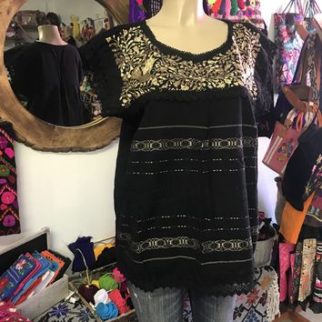 Mexican Oaxaca Black Blouse with Gold Embroidery