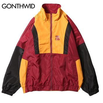 GONTHWID Vintage Color Block Patchwork Windbreaker Jackets Men Casual Full Zip Up Loose Track Jacket Male Hip Hop Streetwear