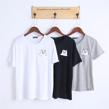 Popsocket Casual Summer Couple Plain Tops Pullover Short Sleeve O-neck Pocket Cat Print T-shirt
