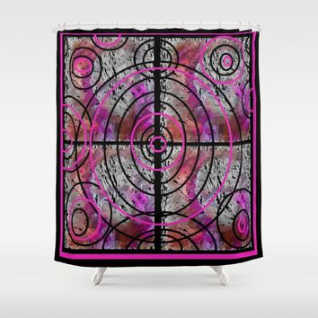 PINK MAZE Shower Curtain by violajohnsonriley