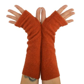 Arm Warmers in Spiced Orange Cashmere - Recycled Fingerless Gloves