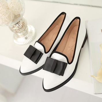 South Korea sweet dating style sexy pointed toe paint loafers fashion color matching b