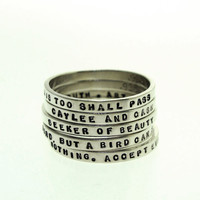 Stacking Ring - custom made ring with your choice of inscription in sterling silver by Kathryn Riechert (Tiny Text)