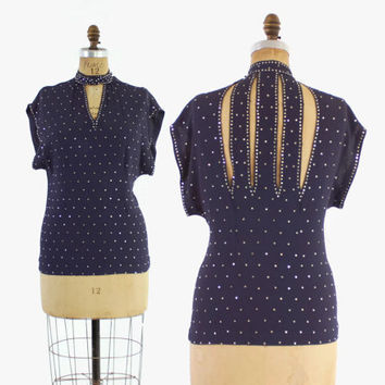 40s RHINESTONE Studded Cocktail BLOUSE / Dramatic 1940s Cut Out Blue Crepe Top S