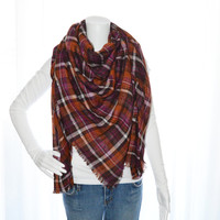 Reversible Plaid Gauze scarf / Large Blanket Scarf / Oversized Long Scarf/ Plaid Shawl / Fall, Winter Wrap/ Zara Insired Scarf