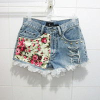 Make To Order - Vintage High Waist  Floral Pink in Light Yellow Printed White Lace Studded Cut Off Shorts