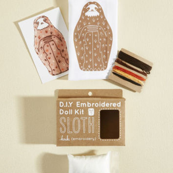 Have Me in Stitches Embroidery Kit in Sloth | Mod Retro Vintage Toys | ModCloth.com