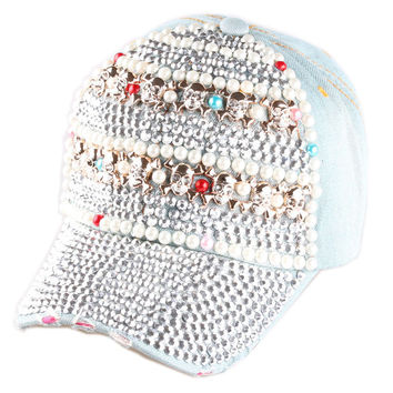 2015 New High quality Full Crystal Skull Colorful Pearl Denim Baseball Cap Bling hip hop Adjustable Snapback Hat for women