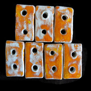 Buttons- Set of seven ceramic orange buttons- 2,8x2cm square buttons- Craft supplies- Jewlery supplies- Ceramic beads