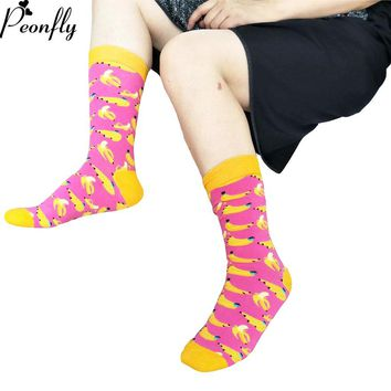 PEONFLY 2018 Unisex Casual Cotton Sock Fashion Cherry Banana Watermelon Fruit Jacquard Long Men Sock Solid Color Funny Sock Male