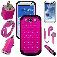 Samsung Galaxy S3, S III, GS3 Pink Diamond Studs Dual Layer Rugged Case, USB Car Charger Plug, USB Home Charger Plug, USB 2.0 Data Cable, Metallic Stylus Pen, Stereo Headset & Screen Protector (7 Items) Retail Value: $89.95