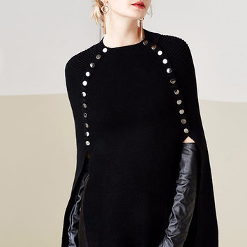 Black Studded Sweater Cape