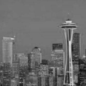 Seattle Skyline poster Metal Sign Wall Art 8in x 12in Black and White