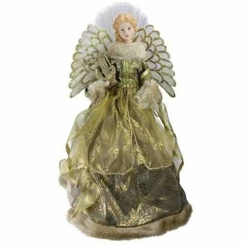 "16"" Lighted B/O Fiber Optic Angel in Metallic Gold Gown with Harp Christmas Tree Topper"