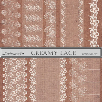 Digital Creamy Lace Borders,  lace transparent clip art, biege lace Digital Collage, Instant Download